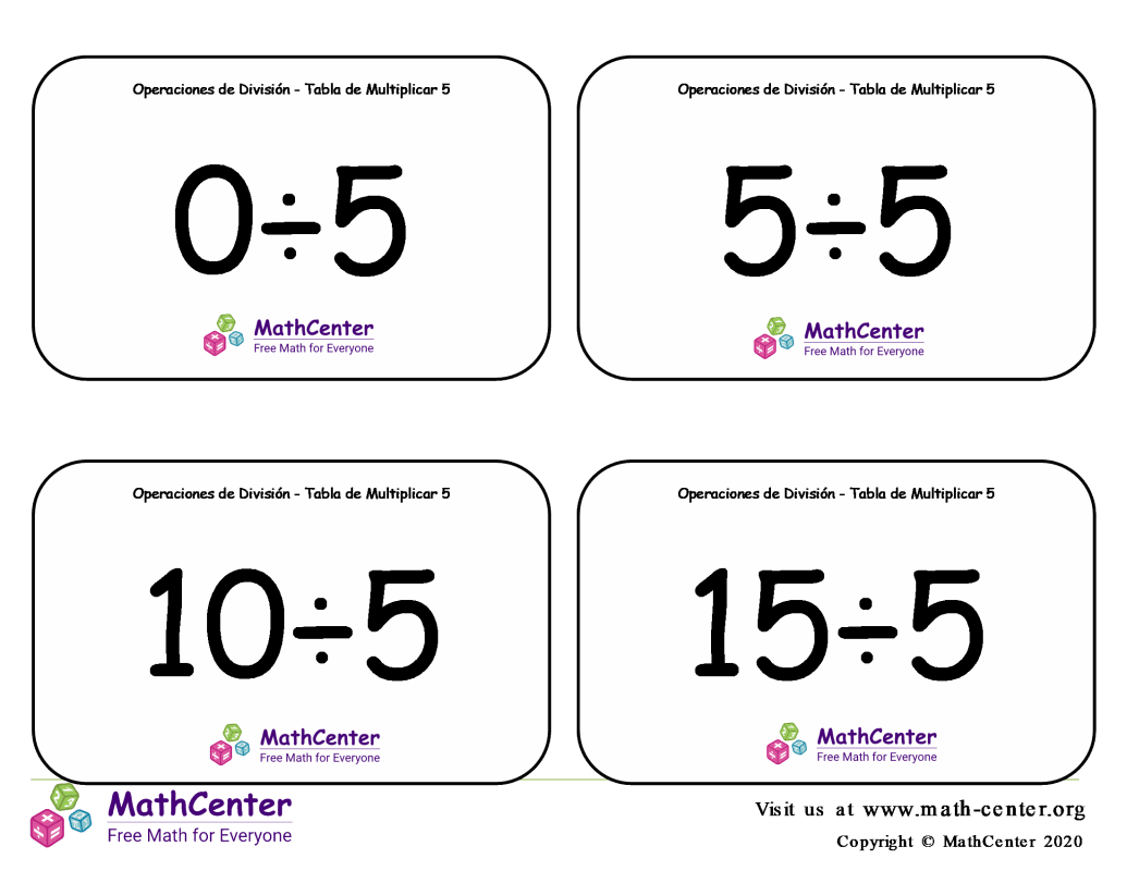 5 Tarjetas didácticas: División - tablas de multiplicar con Respuestas