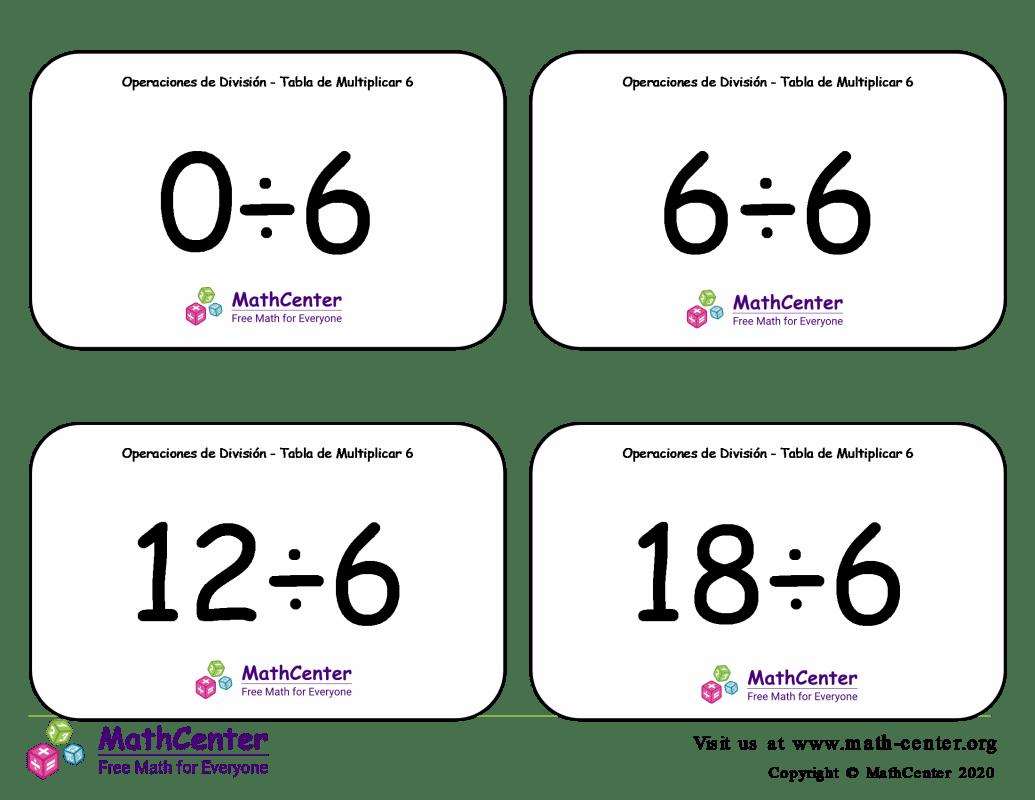 6 Tarjetas didácticas: División - tablas de multiplicar