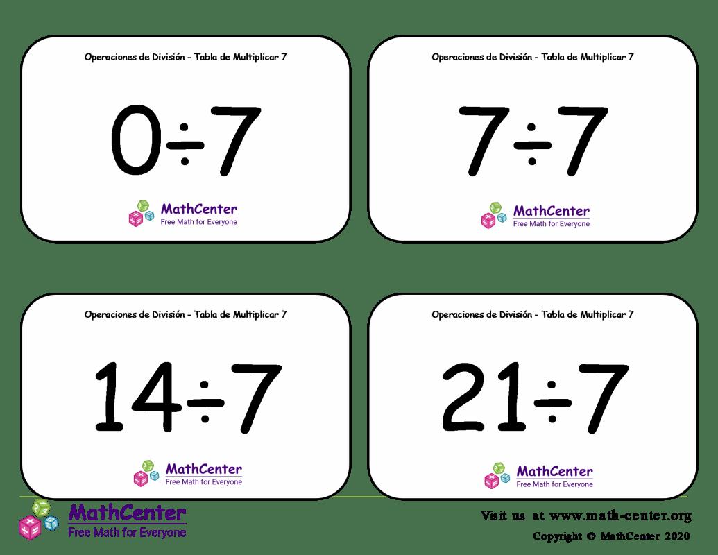 7 Tarjetas didácticas: División - tablas de multiplicar con Respuestas