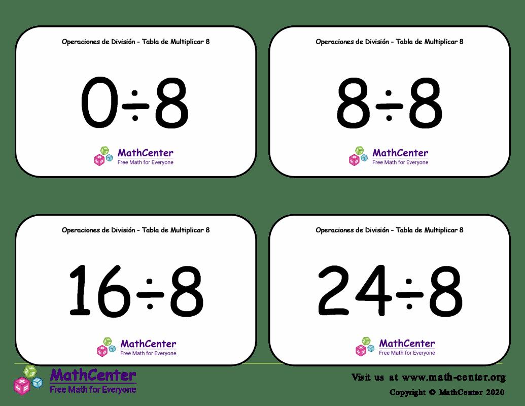 8 Tarjetas didácticas: División - tablas de multiplicar con Respuestas