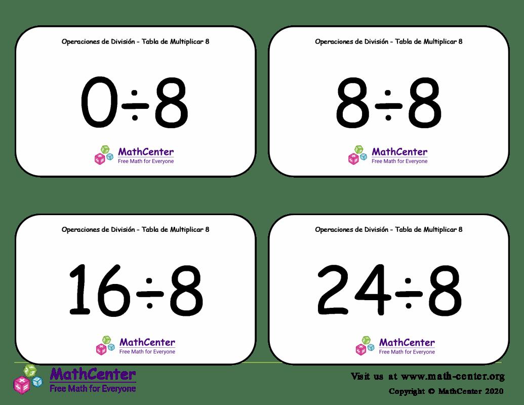 8 Tarjetas didácticas: División - tablas de multiplicar
