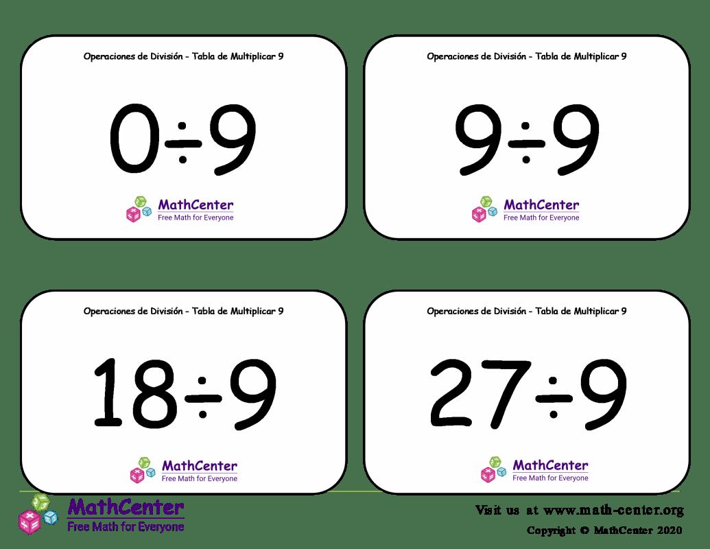 9 Tarjetas didácticas: División - tablas de multiplicar con Respuestas