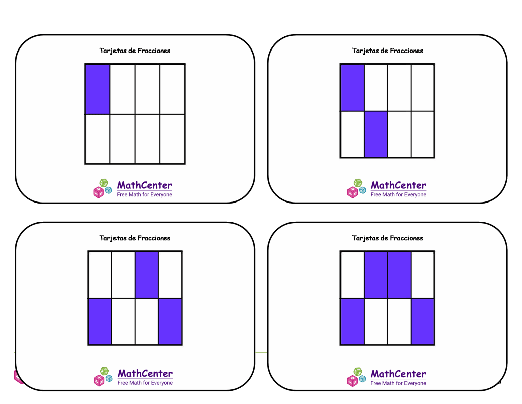Tarjetas didácticas de fracciones - Octavos (cuadrados)
