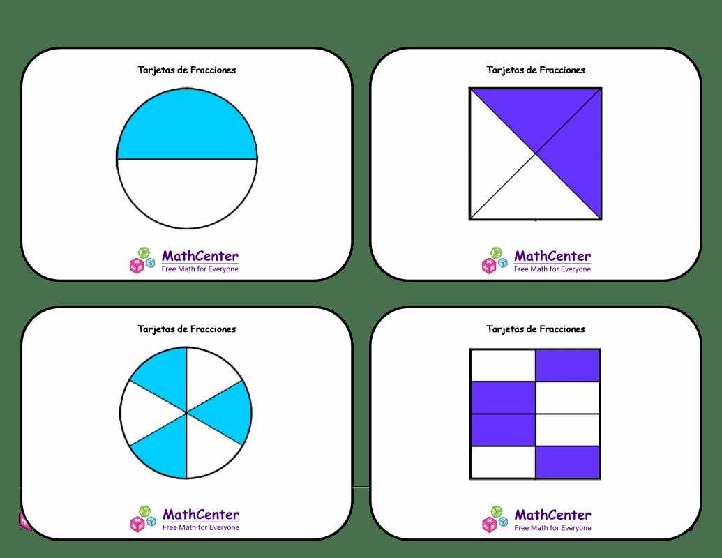 Tarjetas didácticas de equivalentes de fracciones con respuestas
