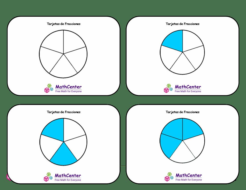 Tarjetas didácticas de fracciones con respuestas: quintos