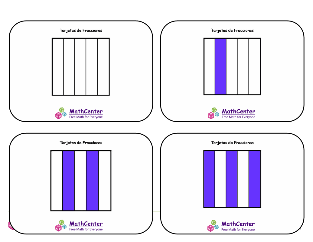 Tarjetas didácticas de fracciones con respuestas: quintos (cuadrados)