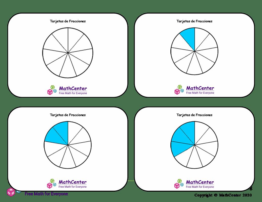 Tarjetas didácticas de fracciones - Novenos (círculos)