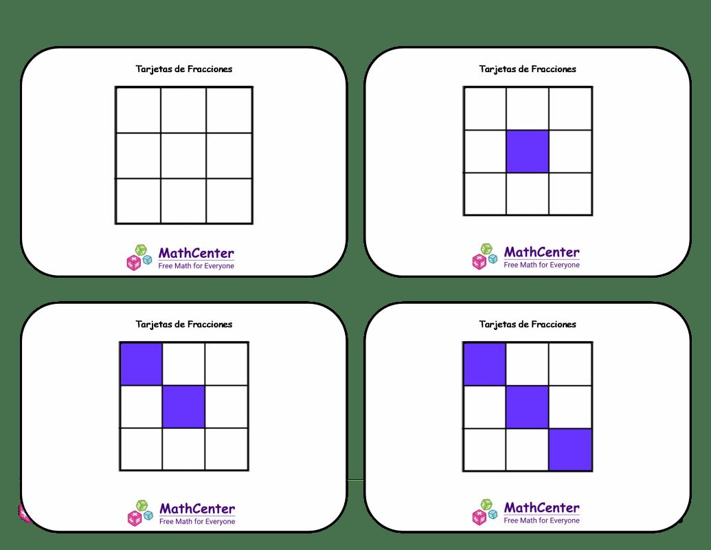 Tarjetas didácticas de fracciones - Novenos (cuadrados)