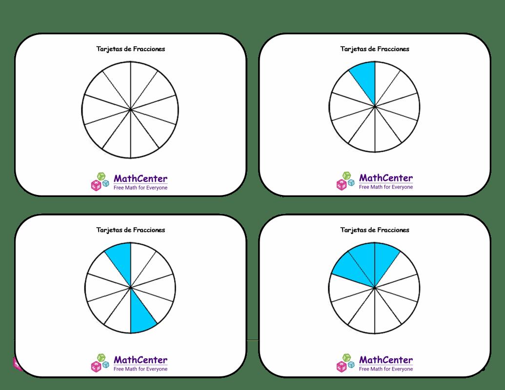 Tarjetas didácticas de fracciones - Décimos (círculos)