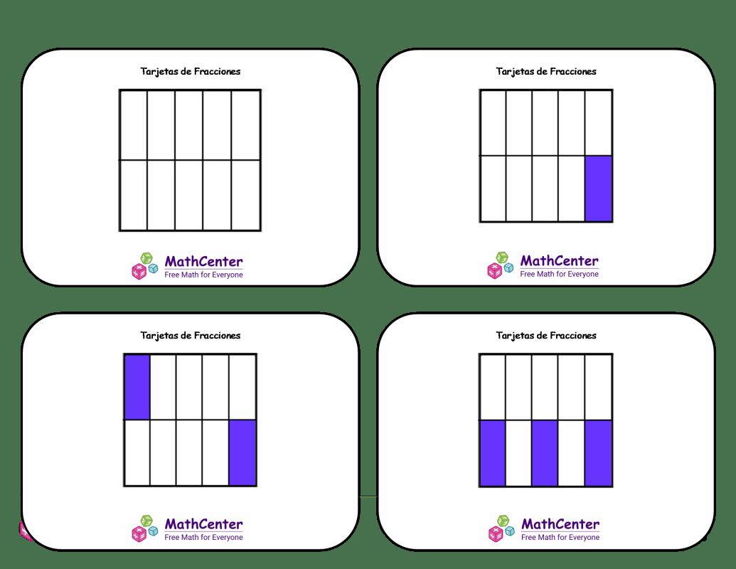 Tarjetas didácticas de fracciones con respuestas: décimos (cuadrados)