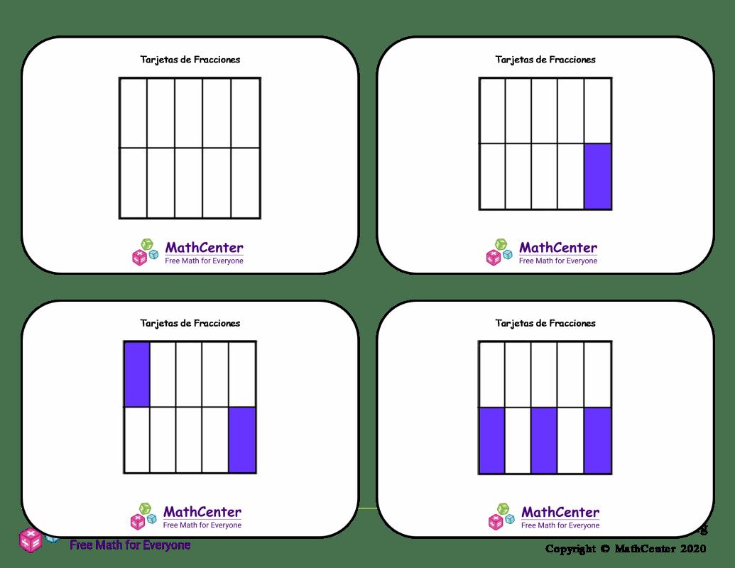 Tarjetas didácticas de fracciones - Décimos (cuadrados)