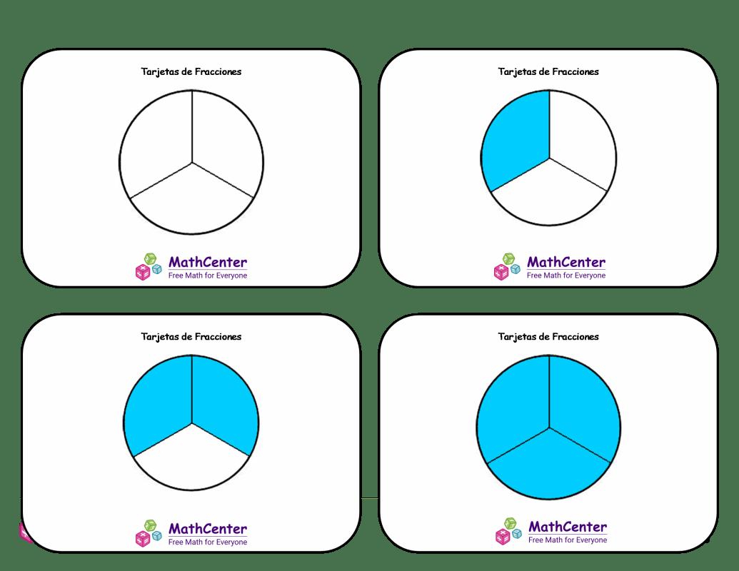 Tarjetas didácticas de fracciones con respuestas: sextos (círculos)
