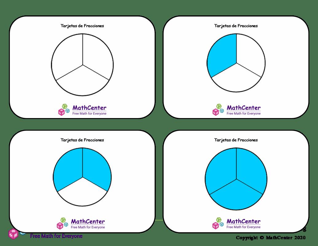 Tarjetas didácticas de fracciones - Sextos (círculos)