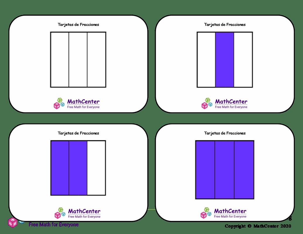 Tarjetas didácticas de fracciones con respuestas: sextos (cuadrados)
