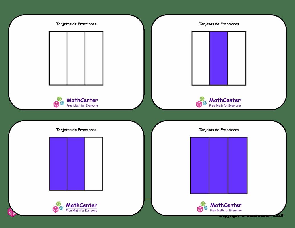 Tarjetas didácticas de fracciones - Sextos (cuadrados)