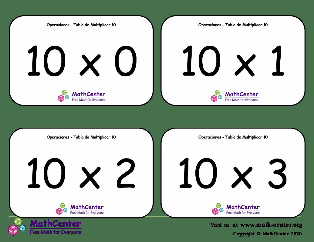 10 Tarjetas didácticas de multiplicaciones con Respuestas