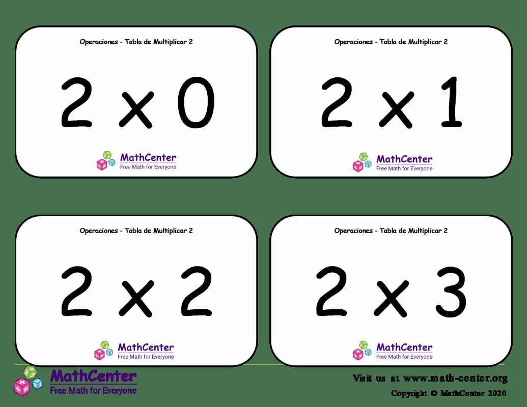 2 Tarjetas didácticas de multiplicaciones con Respuestas