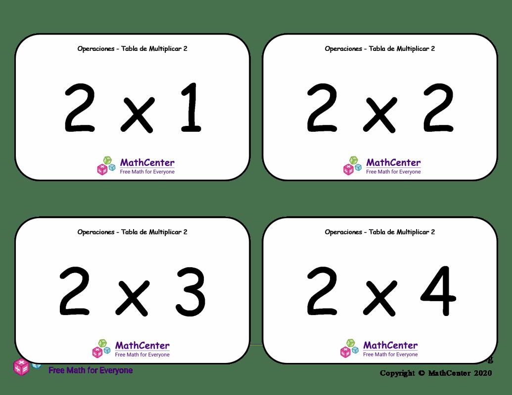 2 Tarjetas didácticas de multiplicaciones