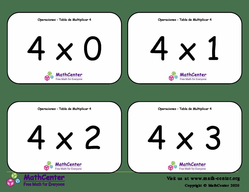 4 Tarjetas didácticas de multiplicaciones con Respuestas