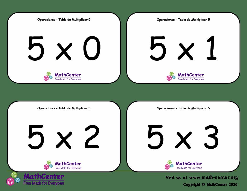 5 Tarjetas didácticas de multiplicaciones con Respuestas
