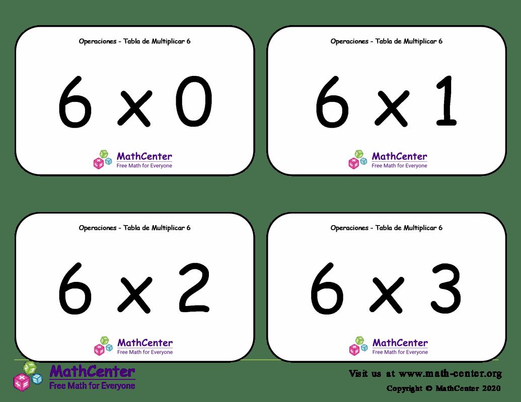 6 Tarjetas didácticas de multiplicaciones con Respuestas