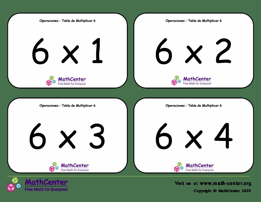 6 Tarjetas didácticas de multiplicaciones