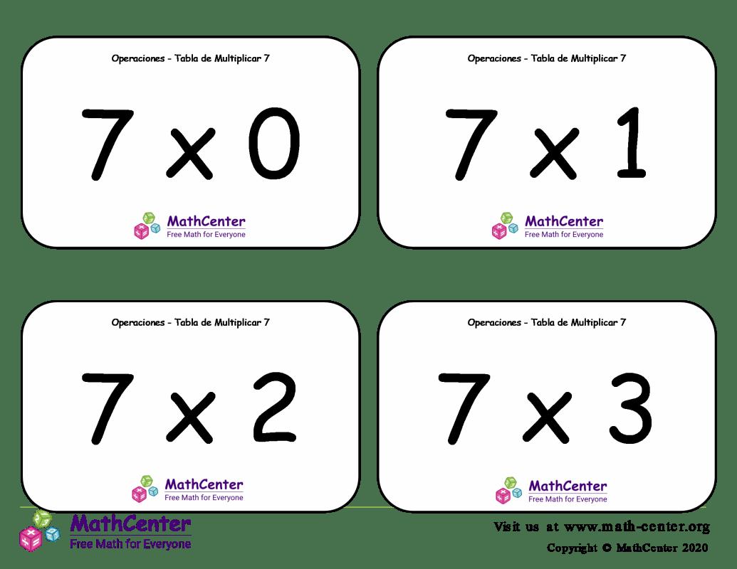 7 Tarjetas didácticas de multiplicaciones con Respuestas