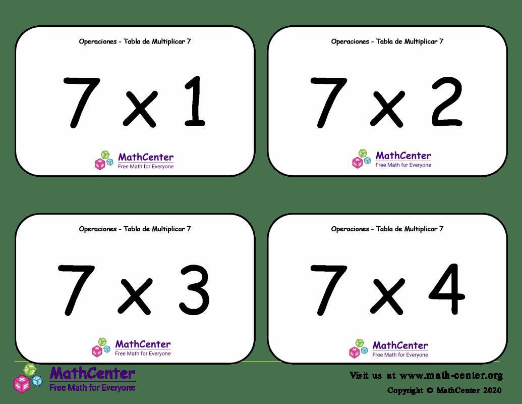 7 Tarjetas didácticas de multiplicaciones