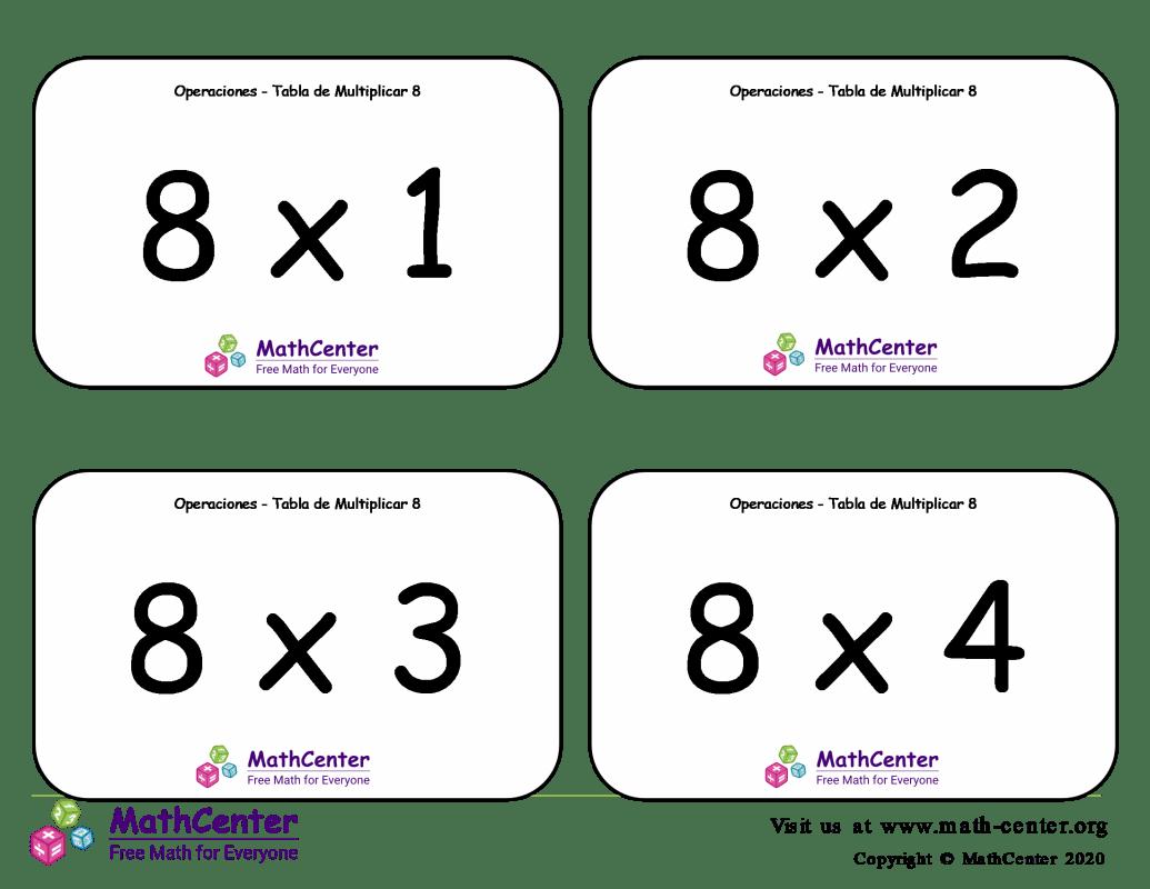 8 Tarjetas didácticas de multiplicaciones