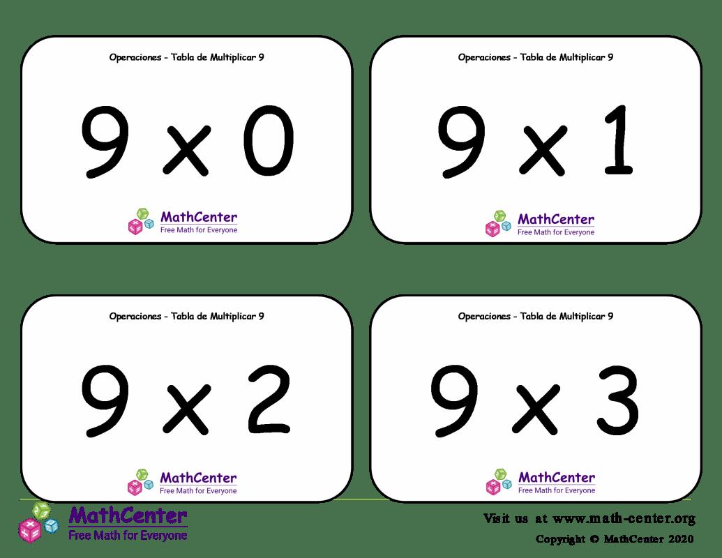 9 Tarjetas didácticas de multiplicaciones con Respuestas