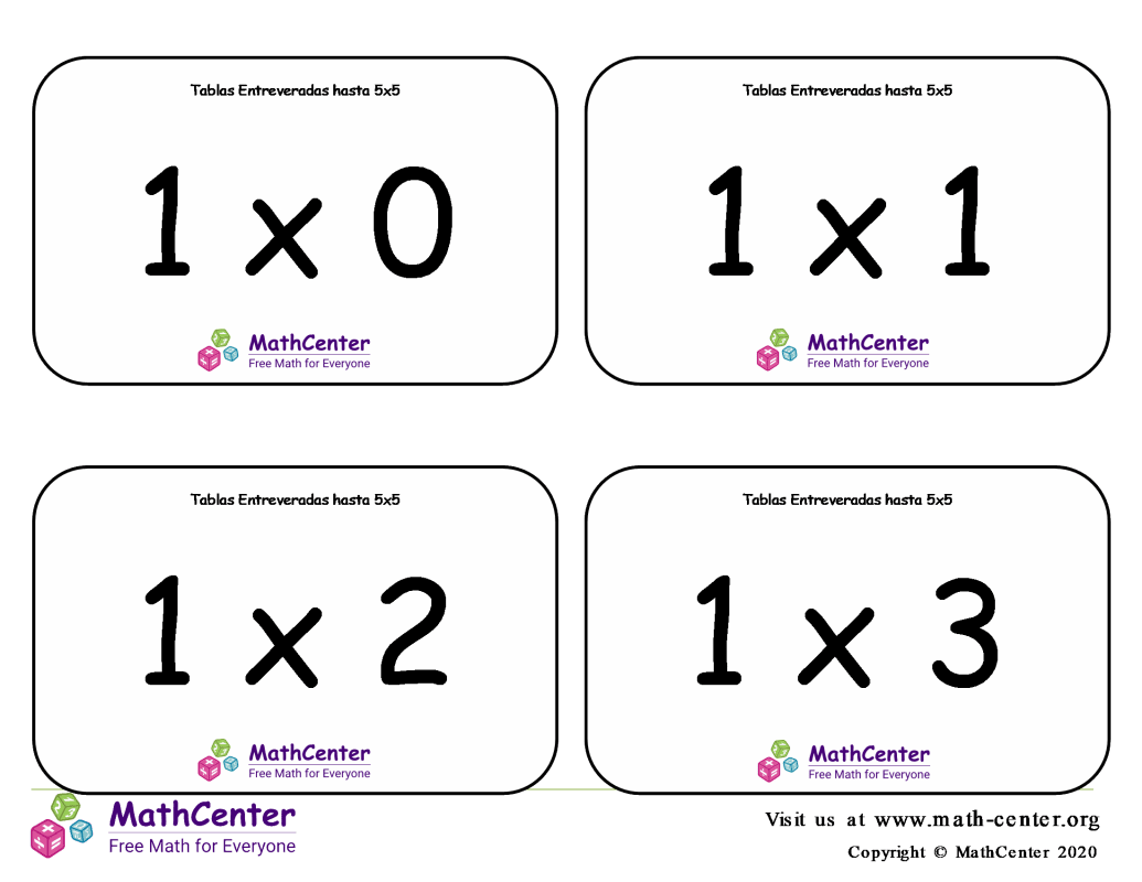 Multiplicaciones variadas - Tarjeta didácticas hasta 5 X 5 con respuestas