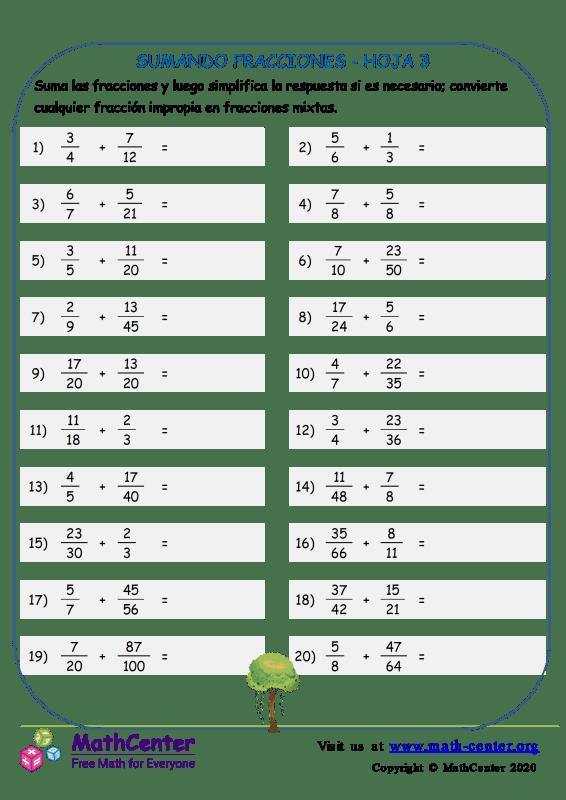 Sumando Fracciones Hoja 3