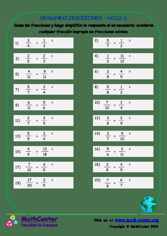 Sumando Fracciones Hoja 6