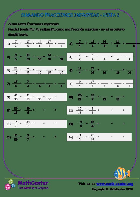 Sumando Fracciones Impropias Hoja 1