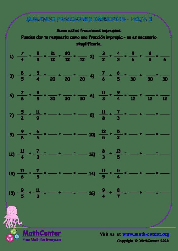 Sumando Fracciones Impropias Hoja 3