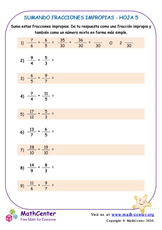 Sumando Fracciones Impropias Hoja 5