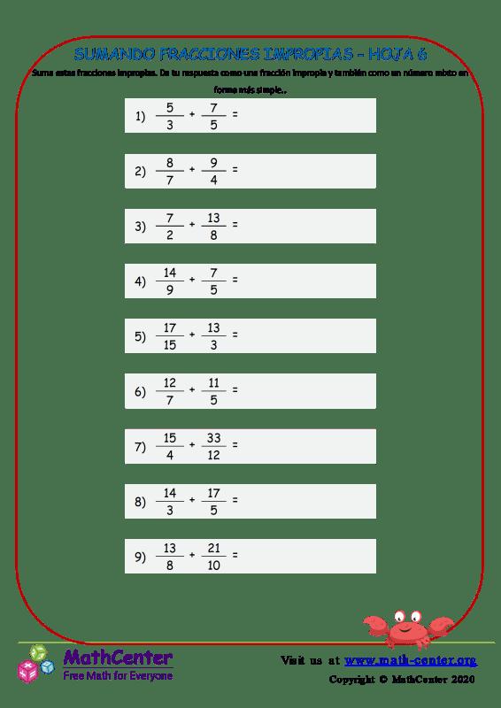 Sumando Fracciones Impropias Hoja 6