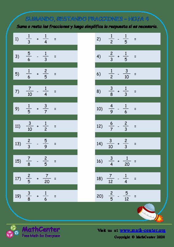 Sumando, Restando Fracciones Hoja 4