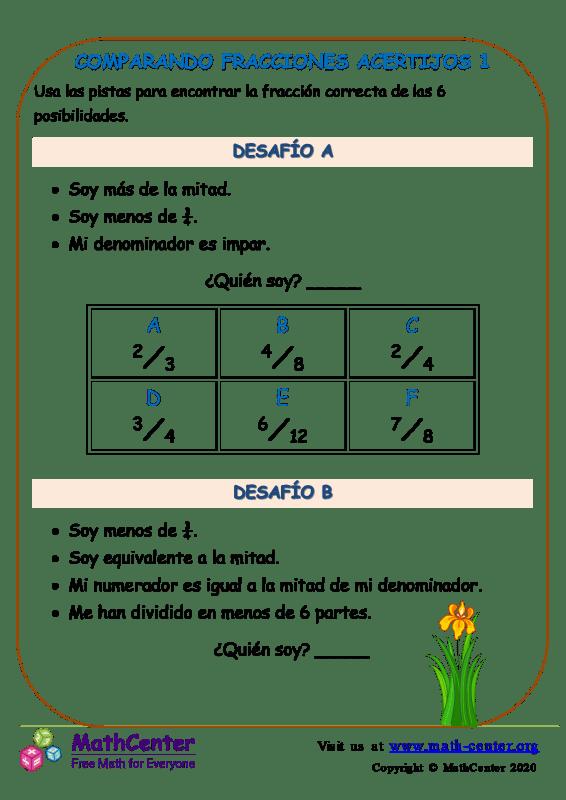 Comparando Fracciones Acertijos 1