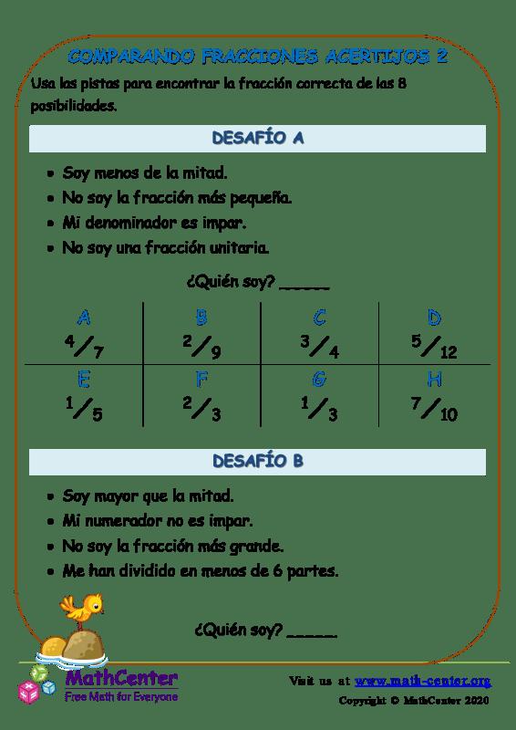 Comparando Fracciones Acertijos 2