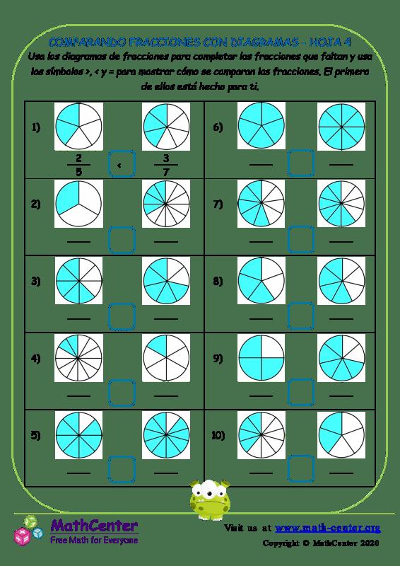 Comparando Fracciones Con Diagramas Hoja 4