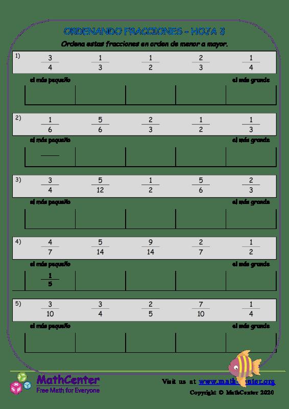 Ordenando Fracciones Hoja 3