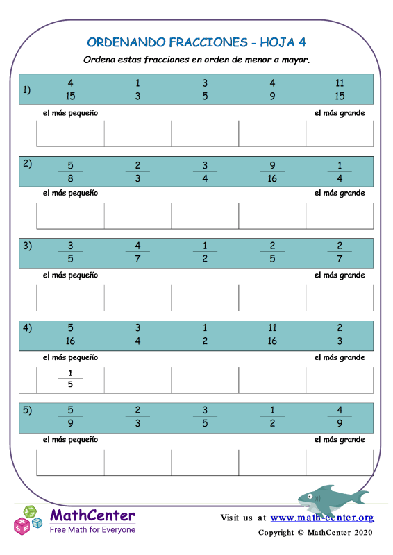 Ordenando Fracciones Hoja 4