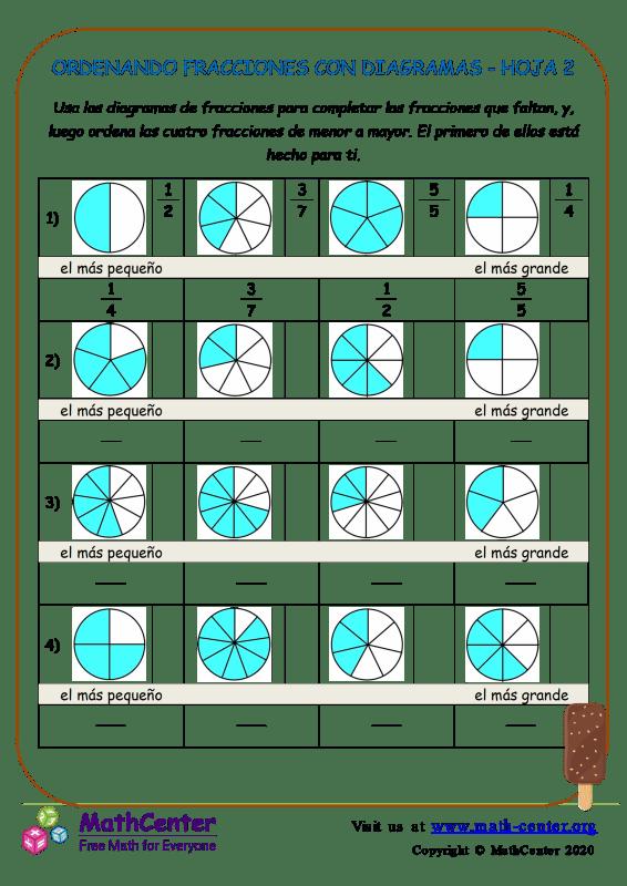 Ordenando Fracciones Con Diagramas Hoja 2