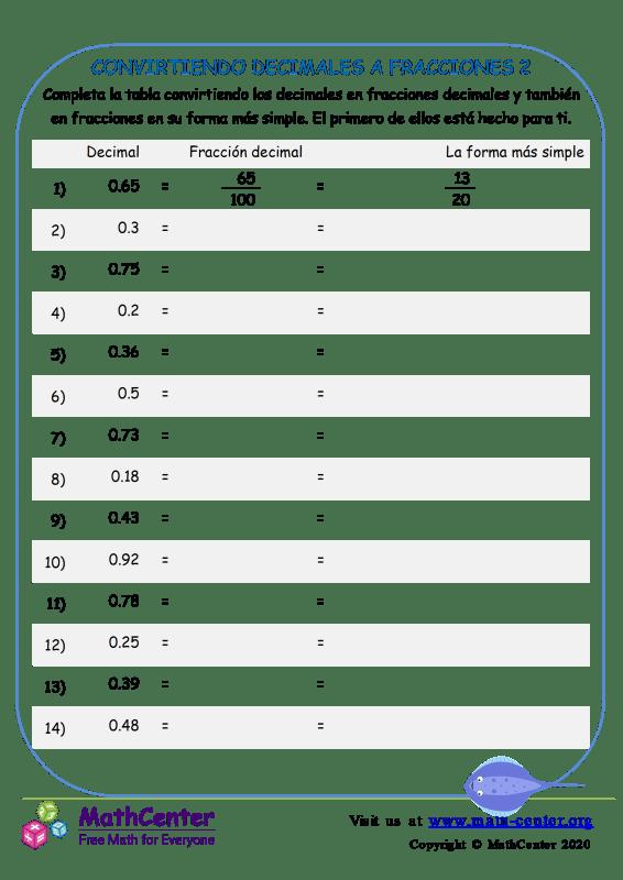 Convirtiendo Decimales A Fracciones 2