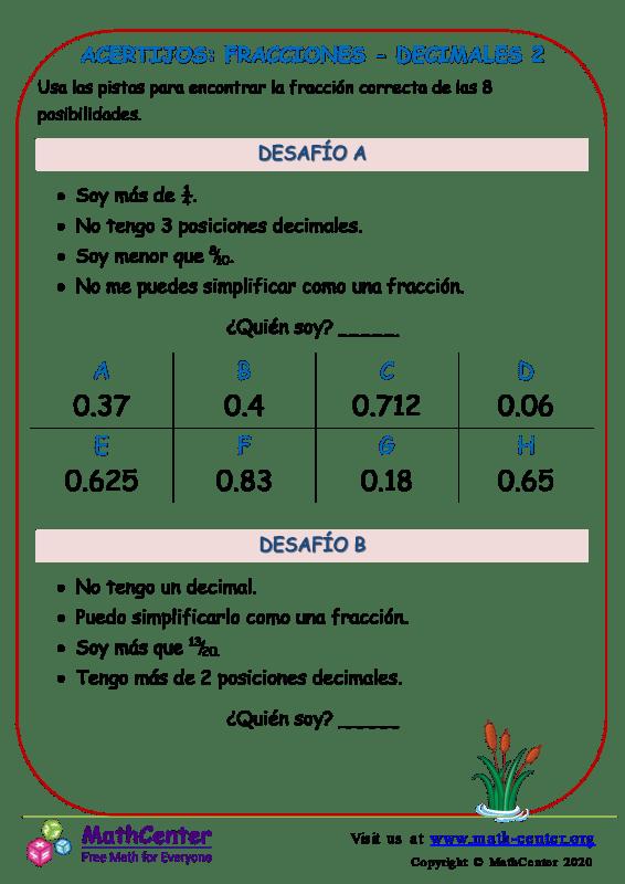 Acertijos: Fracciones - Decimales 2