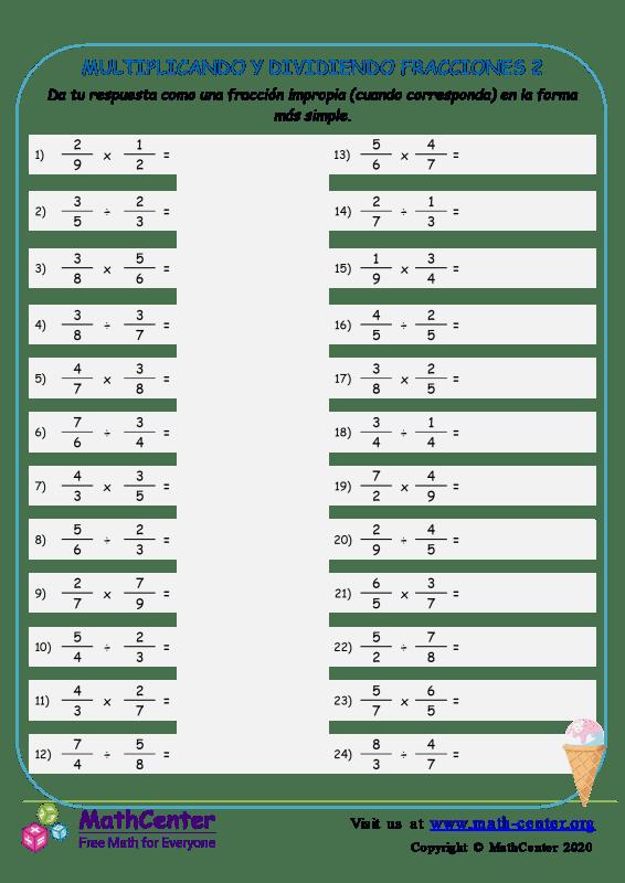 Multiplicando Y Dividiendo Fracciones 2