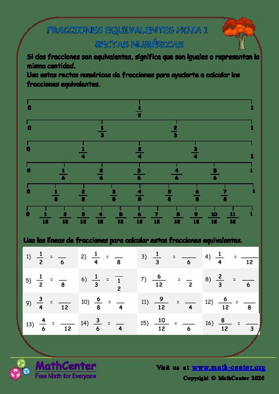 Fracciones Equivalentes Hoja 1