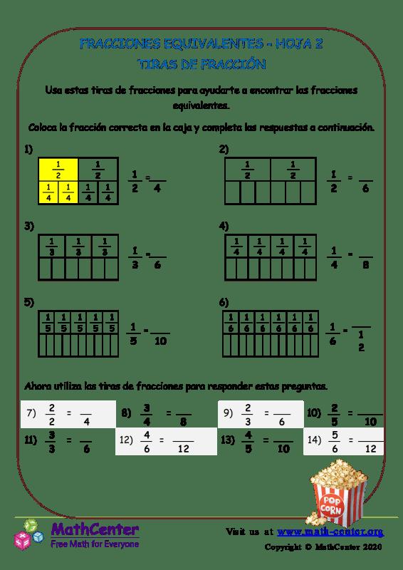 Fracciones Equivalentes Hoja 2