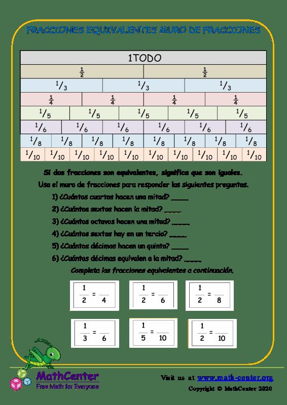 Fracciones Equivalentes Muro De Fracciones